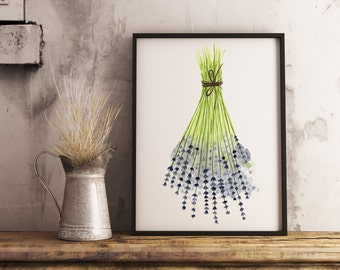flower bouqet print dried lavender watercolor painting flower watercolor blue flower art print lavender painting kitchen wall decor