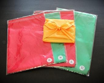 Solid Satin Reusable Fabric Gift Wrap Set