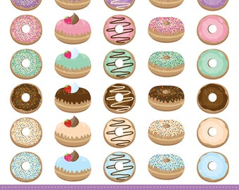 Donuts Clip Art, Doughnut Clipart, Dessert Clipart, Cute Glazed Sprinkled Donuts, Donut Digital Download Vector Clip Art