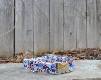 Vintage Inspired Multicolored Pastel Floral Dog Collar