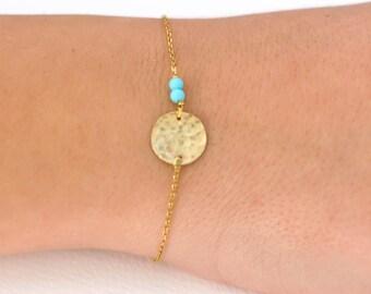 Disc Bracelet, Gold Disc Bracelet, Simple Geometric Bracelet, Turquoise Gold Bracelet, Full Moon Bracelet, Dainty Gold Bracelet, SB0160