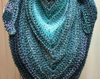 Crochet Shawl, Blue Shawl, Turquoise Shawl, Blue Wrap, Crocheted Shawl, Crochet Wrap, Metallic Shawl, Shawlette, Shawl Wrap