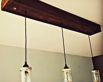 Rustic Wood Hanging Chandeliers. Lighting. Barn Wood. Mason Jar. Farmhouse Lighting. Farmhouse Chandeliers. Fixer Upper Ceiling Light