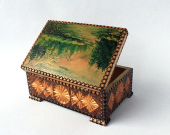Hand painted and burned wood keepsake box , Vintage Soviet carved pyrography wooden trinket box with hand painted mountain landscape 70's
