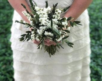 White and Greenery Bouquet, Woodland Bouquet, Eucalyptus Bouquet