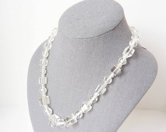 Vintage Crystal Necklace with Clear Quartz Cubes from the 1930s