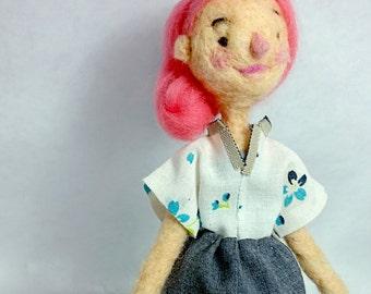 Needle felted, pink hair doll - skirt, shirt, wool