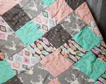 Modern Patchwork Baby Quilt, Michael Miller, Plucked, Feathers, Mint, Pink, Gray, Arrows, Metallic, Toddler, Baby, Bedding, Girl