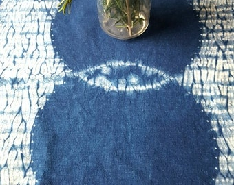Indigo Table Linen ~ Shibori Art on 100% Hemp fabric