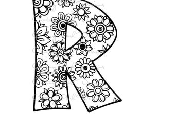 Letter R Alphabet Flowers SVG / JPEG / PNG /pdf / use with Silhouette Studio and Cricut Design Space - Commercial Use - Adult Coloring Page