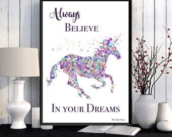 Unicorn poster, Unicorn print, Disney quote, Bedroom wall decor, Disney princess, Kids decor, Room art girl, Nursery print, Girl or boy gift