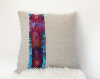 Boho Pillow Cover 16x16 Pillow in Natural Linen with Fringed Hand dyed Linen for Your Bohemian Home Decor