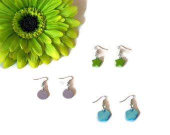 Star earrings, circle earrings, flower earrings, wood earrings, colorful earrings, fun earrings, unique earrings, gift for her, boho chic