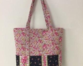Handmade large beach bag, large tote, shoulder bag, pink floral bag, quilted bag, diaper bag, pink & black bag