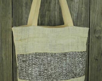 Checkered Weave Pure Hemp Tote, Organic Shopping Bag
