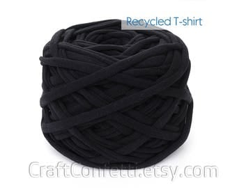 Black T-Shirt yarn Black tshirt yarn Spaghetti yarn Recycled chunky yarn Knitting Crochet Tshirt yarn Home decor yarn / 5m