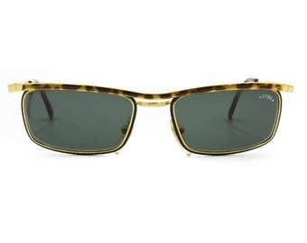Wayfarer renewal golden & dappled STING mod. 643 with black minutiae, vintage sunglasses made in Italy, NOS deadstock