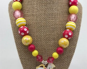 Mrs. Potts and Chip Beauty and Beast Pink and Yellow Chunky Bubblegum Necklace