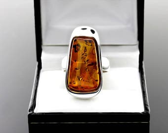 Amber Ring, Amber Silver Ring, Amber Ring Size 7, Ring Size 7, Cognac Amber Ring, Beautiful Amber Ring, Stone Ring For Her