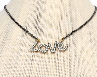 SALE SALE Love Charm Necklace, Love Black and Gold Charm Necklace, Love Necklace, Gold and Black Charm Necklace, Gift for Her