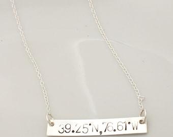 Longitude Latitude Jewelry, Coordinate Necklace, Bar Necklace Personalized, Latitude Longitude Necklace, Gold Filled, Rose Gold Bar Necklace