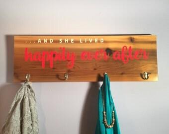 Princess coat rack, wall rack, clothes hanger, princess dress hanger, sign with hooks, happily ever after dress holder, princess decor, kids