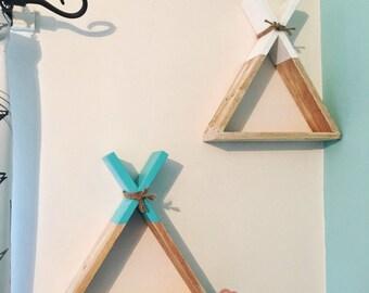 2x teepee wood shelves indian style shelving