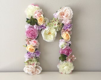 Floral Letter, Custom Flower Letter, Floral Monogram, Wedding Letter, Bridal Shower Letter, Shower Decor, Shower Gift, Flower Girl Gift