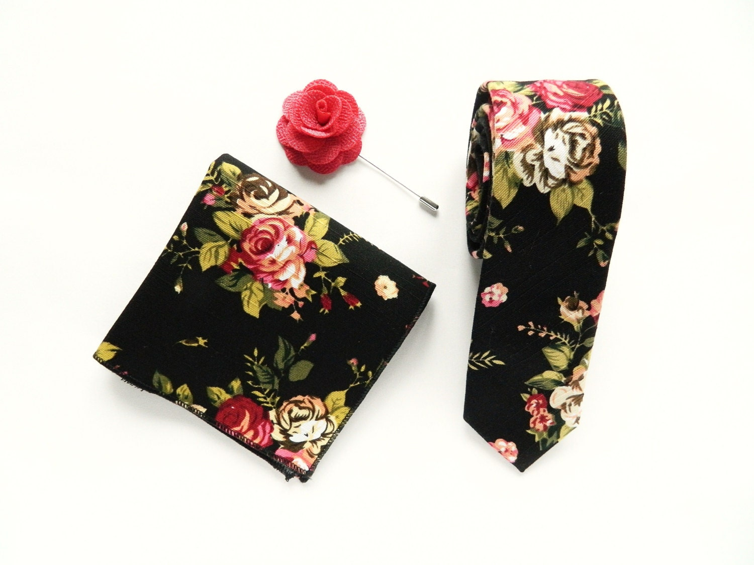 Men's Black Floral Tie Pocket Square Wedding Tie Gift For