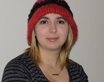 Vintage Styled Cloche Hat - Hand Knit Cloche Hat with Brim - Women's Winter Hat - Alpaca - Ladies Bucket Hat - Red - Knitted