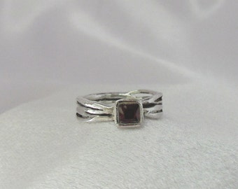 Item 164- Handcrafted, sculpted, carved 999 Fine and 925 Sterling Silver Ring with Square Red CZ Ring