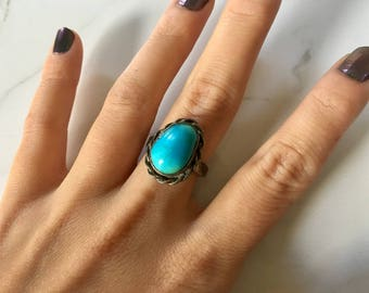 Vintage Sterling Silver + Turquoise Women's Ring size 7