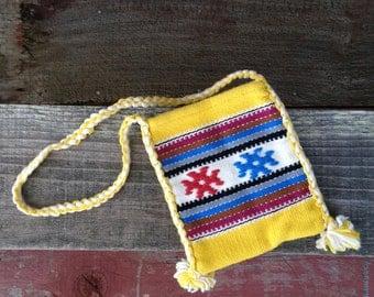 Greece Satchel Bag, Handmade in Greece, Spun Ravon Patterened Satchel, Aztec Coin Purse, Striped Satchel Bag, Yellow Bag