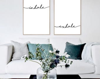 Inhale Exhale Print, Black and White Prints,  Meditation Gifts, Yoga Poster, Yoga Gifts, Modern Wall Art, Inspirational Quote, Fitness print