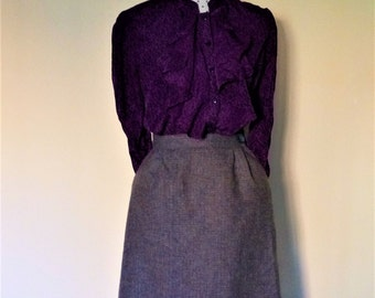 Skirt Vintage Tweed Wales FORSTMANN years 70 I Lana Virgen flared gray with pockets I waist high I Made in USA