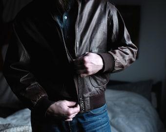Leather Bomber Jacket | Medium  | USA