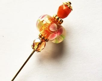 Floral Glass Bead Hat/Stick Pin