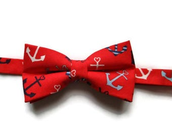Anchors Bow Tie- Nautical Boys Bow Tie - Bow Tie for Boys - Pre-tied Bow Tie - Red Bow Tie - Boys Bow Tie - red bow tie for boy