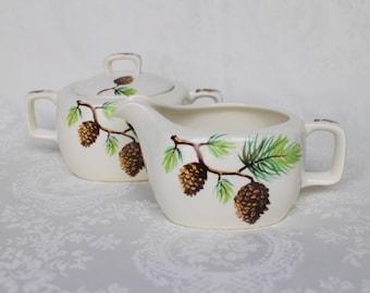 RARE Stylecraft Midwinter Pine Cons Jug and Lidded Sugar Bowl, Jessie Tait Midwinter Spruce Pattern Creamer and Sugar Bowl