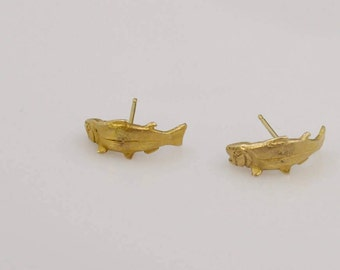 14k Yellow Gold BlueFish Pierced Stud/Post Pair Of Earrings