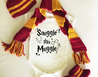 Harry Potter Baby Bodysuit Onesie Hat Boots Scarf Snuggle this Muggle Set Costume Newborn Infant Gryffindor Hufflepuff Ravenclaw Slytherin