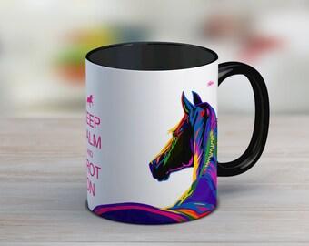 Gift for horse lover, horse mug, gift for her, gift for women, keep calm, ceramic mug, tea cup, funny mug, the office mug, horse gift, horse