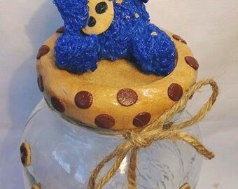 handmade, polymer clay, cookie monster, treats jar, home and living,money jar, gift for her, gift for him, ooak gift, mason jar, storage jar