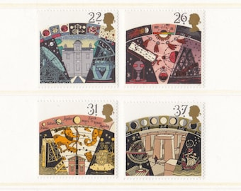 1990 Astronomy Mint Unused Postage Stamps; observatory, telescope, astrology, Greenwich, navigation, Stonehenge, stars, planets, space, MNH