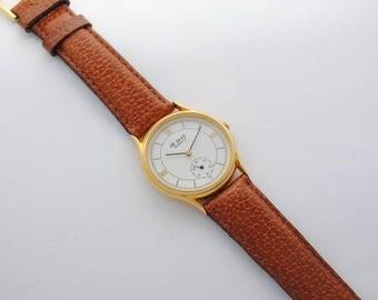SAXONY watch - vintage - quartz - unisex watch - leather strap watch - 1980s - Golden dial - Roman numerals watch
