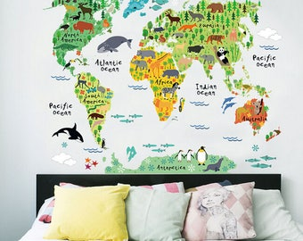 Wall Stickers for Kids, World Map Wall Decal, World Map Sticker, Animal Sticker, Room Decor, Wall Sticker for Girls Boys, Wall Murals, Decal