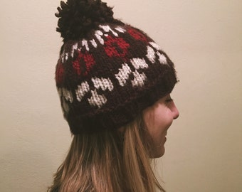 Handmade Fair Isle Brown Beanie