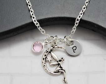 Tinkerbell Initial Necklace - Moon Fairy Necklace - Disney Tinkerbell Necklace - Fairy Necklace Silver - Disney Charm Necklace