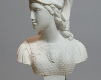 Athene Goddess of Wisdom Athena Minerva Bust Alabaster Statue Sculpture 9.84in - 25cm **Free Shipping & Free Tracking Number**