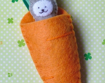 Bunny, rabbit, Easter, with its carrot, soft toy, stuffed toy, miniature doll, kawaii